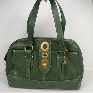 Coach Green Leather Satchel Shoulder Turn Lock Bag